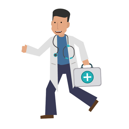 doctor or physician running with first aid kit  icon image vector illustration design Illustration