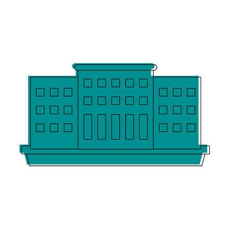 큰 도시 건물 아이콘 이미지 벡터 일러스트 디자인 블루 색상