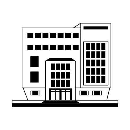 큰 도시 건물 아이콘 이미지 벡터 일러스트 디자인 흑백