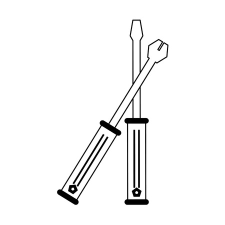 crossed wrench and screwdriver tools icon image vector illustration design  black and white Illustration