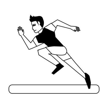 running man avatar sideview icon image vector illustration design  black and white Illustration