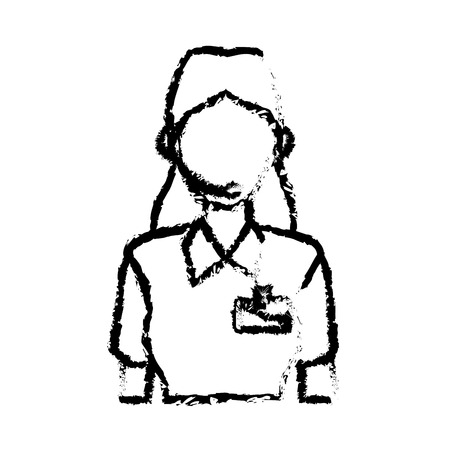 customer service phone: delivery support woman operator help communication vector illustration Illustration