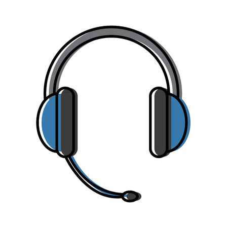 headphone for support or service call center equipment vector illustration