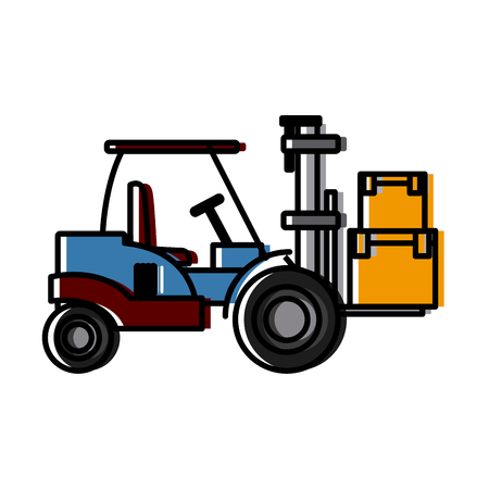 wood crate: forklift loaded with cardboard boxes logistics and delivery vector illustration Illustration