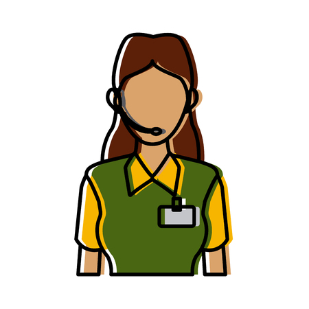 delivery support woman operator help communication vector illustration Illustration