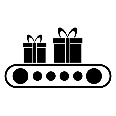 cartoon of cardboard boxes on conveyor belts vector illustration