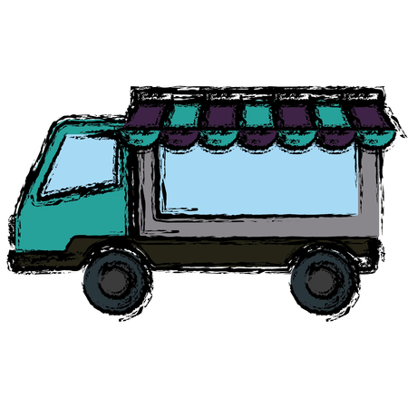commercial vehicle delivery truck automobile vector illustration