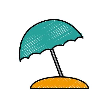 sun umbrella protection object beach icon vector illustration
