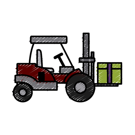 forklift loaded with cardboard boxes logistics and delivery vector illustration Illustration