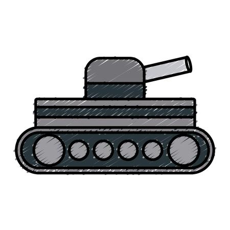 battle tank aiming cannon to side vector illustration Illustration