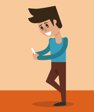 color background of man standing with smartphone vector illustration