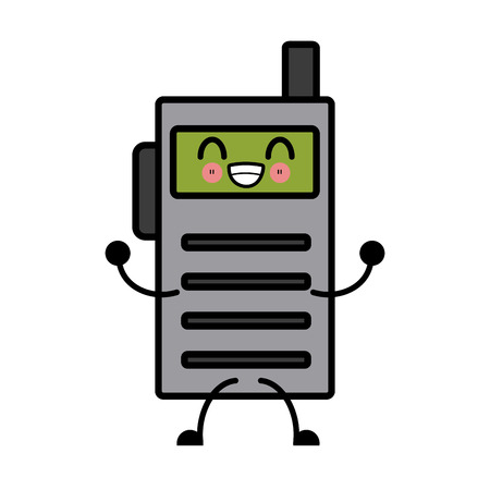 transmit: walkie talkie communication radio cartoon vector illustration