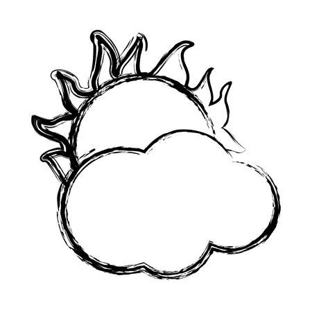 cloud with sun weather sky image vector illustration