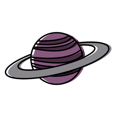 planet saturn with planetary ring system astronomy Illustration