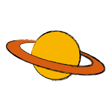 planet saturn with planetary ring system astronomy vector illustration