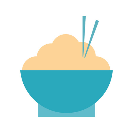 rice bowl with chopsticks food icon image vector illustration design