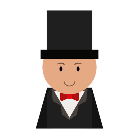 man cartoon wearing suit with top hat icon image vector illustration design