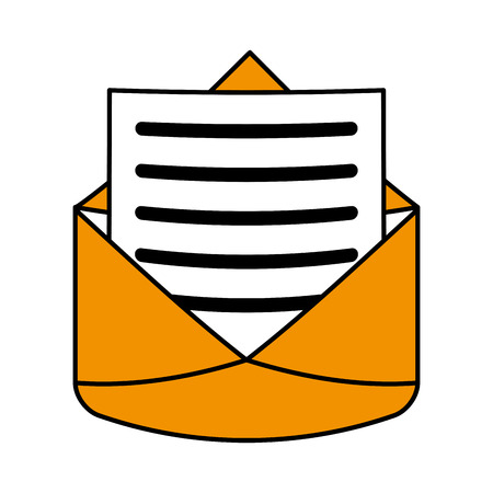 open message envelope with outcoming lined paper icon image vector illustration design Illustration