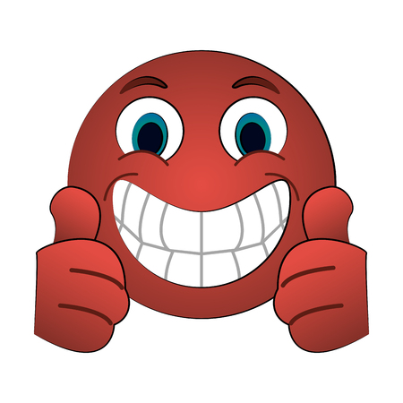 grin with two thumbs up emoji instant messaging  icon image vector illustration design Illustration