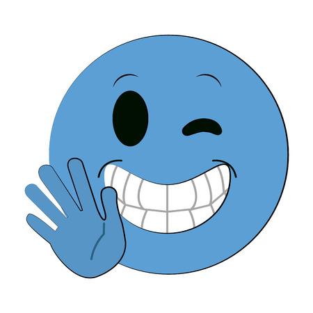 blije open hand hi bye knipoog emoji instant messaging icon image vector illustration design