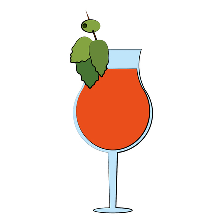 cocktail in garnished glass icon image vector illustration design