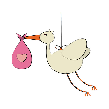 stork carrying pink bag baby related icon image vector illustration design Illustration