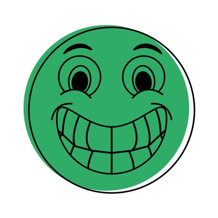happy grin emoji instant messaging  icon image vector illustration design  green color Illustration