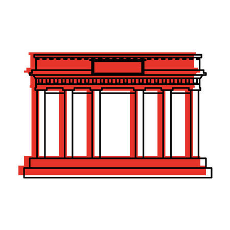 ancient greek building icon image vector illustration design  red color