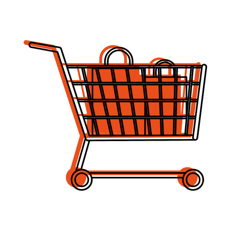 shopping cart with bags  icon image vector illustration design  orange color Illustration