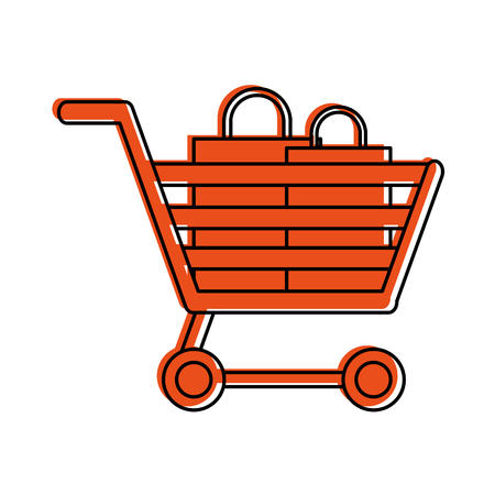 retailer: shopping cart with bags  icon image vector illustration design  orange color Illustration