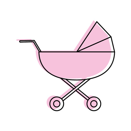 stroller baby related icon image vector illustration design  pink color