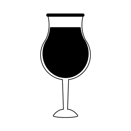 glass of wine icon image vector illustration design  black and white