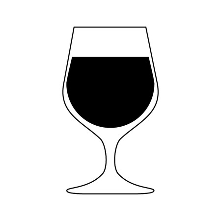 glass of wine icon image vector illustration design  black and white Stock Vector - 84858759