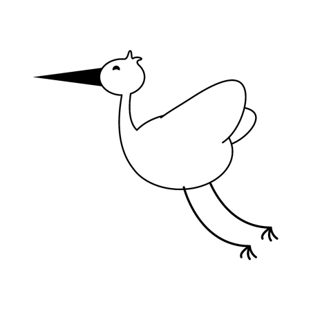 stork bird icon image vector illustration deisgn  black and white