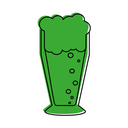 glass of beer icon image vector illustration design  green color