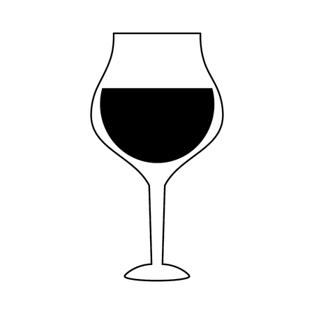 Glass of wine icon image vector illustration design  black and white Illustration