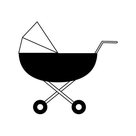 stroller baby related icon image vector illustration design  black and white