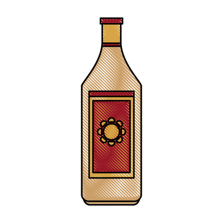 champagne celebration: Colorful tequila bottle doodle over white background vector illustration