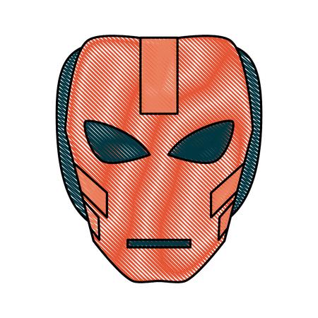 Colorful villain mask costume doodle over white background vector illustration
