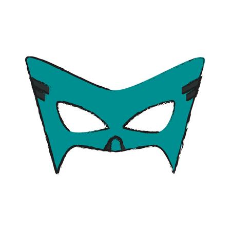 Colorful mask costume doodle over white background vector illustration