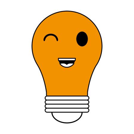 flat line monocromatic  kawaii light bulb over white background vector illustration Illustration
