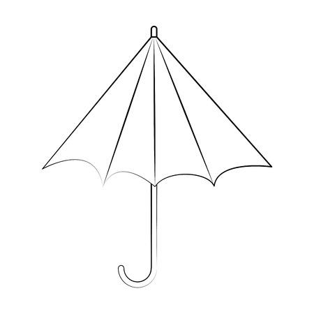 flat line uncolored  umbrella over white  background vector illustration