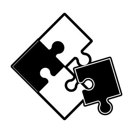Black flat line puzzle over white background vector illustration