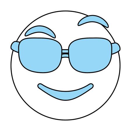 cartoon gezicht met glazen pictogram Emoticon karikatuur en karakter thema Geïsoleerde ontwerp Vector illustratie