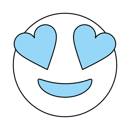 cartoon face in love icon Emoticon caricature and character theme Isolated design Vector illustration