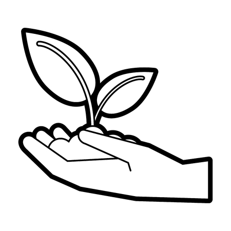 Leaves over hand icon Plant floral garden and nature theme Isolated desig. Vector illustration Illustration