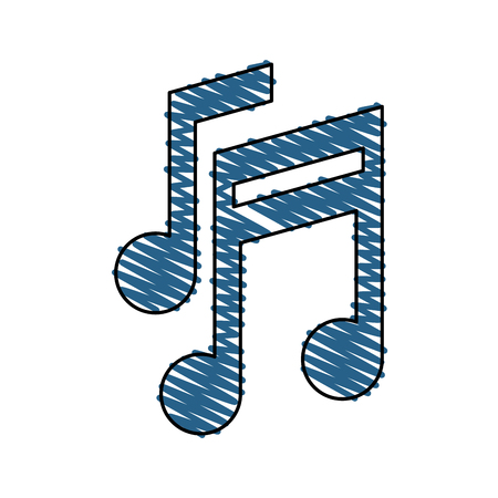 Musica nota icona suono melodia e pentagramma segno isolato illustrazione vettoriale Archivio Fotografico - 85062475