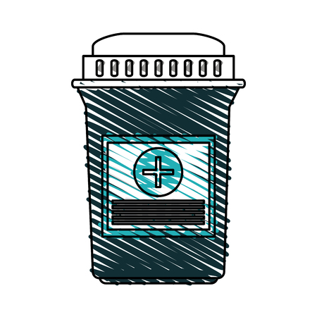 Medicine jar icon medical health care and hospital theme Isolated design Vector illustration Illustration