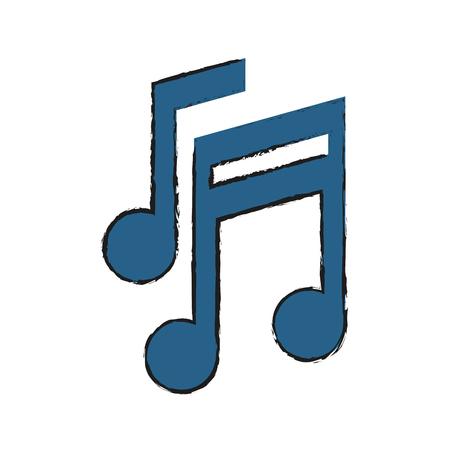 Musica nota musicale Suono melodia e tema pentagramma Isolato design Illustrazione vettoriale Archivio Fotografico - 85067027