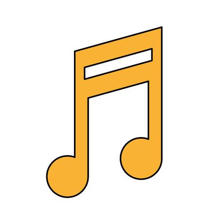 Icono de la nota de música Tema de la melodía y el pentagrama de sonido Ilustración de vector de diseño aislado